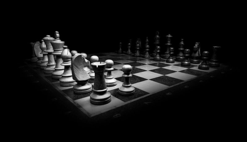 Chess board in black and white to signify strategy
