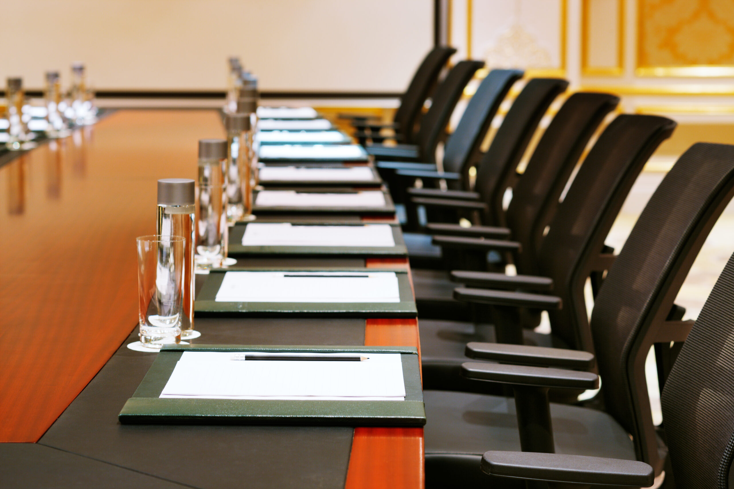 Row of chairs in meeting room