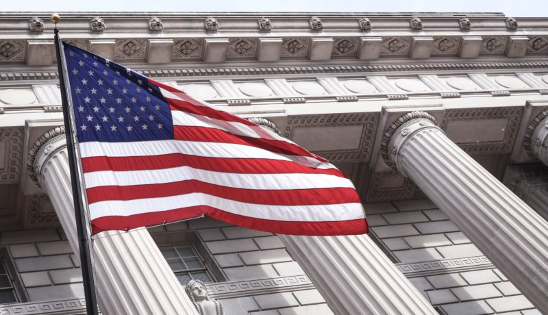 American flag and building: Us Bis entity list